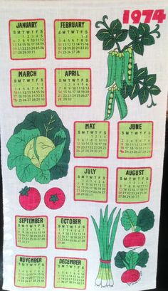 Vintage Linen Calendar Towel with Bright Green and Red Vegetables. Tea Towel, 1974 by Sentimental Sue #sentimentalsue