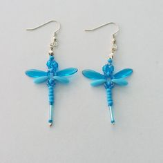 Beaded Dragonflies Earrings – Turquoise Blue and Opaque Blue £10.00