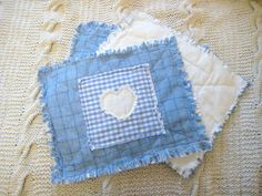 Handmade Shabby Chic Rag Quilted Table Placemats x 4 in Chambray & Babycord   eBay