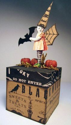 Halloween Bat WITCH Fairy 3D Altered Folk aRt by PaperBunting, $19.99