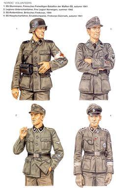 Waffen SS - Volontari del Nord - 1 SS-Sturmmann, Finniches Freiwilligen Battalion, 1941 - 2 Legion-Unterscharfuehrer, Freiwilligen Legion Norwegen, 1942 - 3 SS-Rottenfuehrer, Britisher Freikorps, 1944 - 4 SS-Hauptsharfuehrer, Erstzcompanie, Freikorps Denmark, 1941