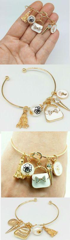 Bracelet Open bangle, charm bag, lady charm, charm pearl, wedding bracelet…
