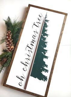 Oh Christmas Tree | Joanna Gaines Inspired | Winter - Evergreen Decor | Framed Wood Sign 13 x 26