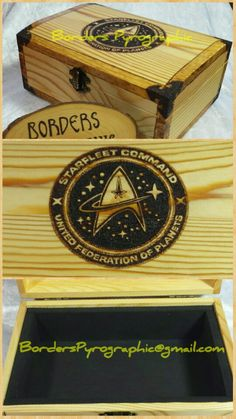 Burned by Tracey Glover Pyrography, Star Trek, Decorative Boxes, Artwork, Home Decor, Work Of Art, Decoration Home, Auguste Rodin Artwork, Room Decor