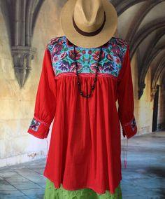 Red & Turquoise Blouse, Macaw Parrot, Mayan Chiapas Mexico, Hippie Santa Fe Boho #Handmade #blouse