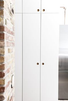 Reform Basis 01 kitchen with white painted drawers and fronts and a countertop in solid oak on IKEA elements. Hall Cupboard, Armoire, Wardrobe Door Handles, Wardrobe Doors, Oak Bathroom, Ikea Lack, Painted Drawers, Wardrobe Cabinets, Small Space Organization