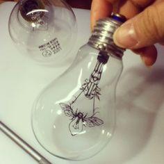 hand cut paper artwork【bulb insect】 by Sayaka Imai instagram.com…