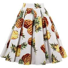 Pineapple Print High Waisted Pleated Skirt (54.035 COP) ❤ liked on Polyvore featuring skirts, twinkledeals, white knee length skirt, white skirt, high rise skirts, high waisted knee length skirt and high waisted pleated skirt