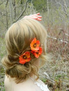 Poppy Flower Bobby Pin Trio - Woodland Flower Hair Accessory - Bride - Bridesmaid - Flower Girl