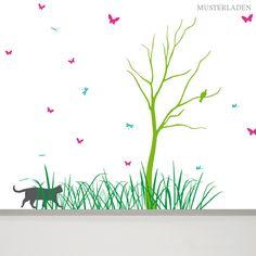 Mit diesem Wandtattoo kann eine größere Wandfläche in eine fröhliche Wiesenlandschaft mit Baum und Tieren verwandelt werden. Bathroom Wall Decals, Animal Wall Decals, Wall Decals For Bedroom, Flower Wall Decals, Vinyl Wall Decals, Nursery Wall Art, Girl Nursery, Nursery Decor, Playroom Decor