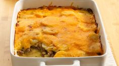 Comfort food at its finest! Don't pass on this casserole of beef and potatoes in a creamy Cheddar sauce.