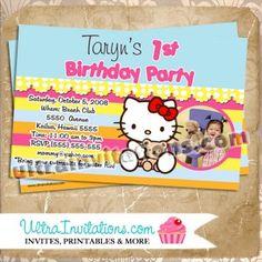 Hello Kitty Pretty Girl Photo Card Invite, Digital or Prints Pretty Girls Photos, Girl Photos, Hello Kitty Birthday Invitations, Pink Hello Kitty, Photo Cards, Custom Invitations, Invite, Custom Design, Birthday Parties