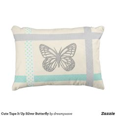 Shop Cute Tape It Up Silver Butterfly Outdoor Pillow created by dreamywave. Colorful Pillows, Decorative Throw Pillows, Grey Pillows, Backdrops, Pillow Cases, Tape, Gray Color, Butterfly, Birthday