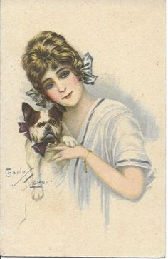 Charles FISCHER lady w cute FRENCH BULLDOG dog old postcard