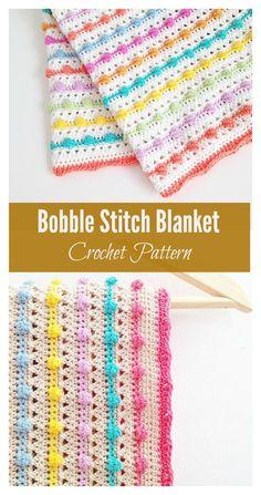 Bobble Stitch Blanket Crochet Pattern #crochetpattern #crochetblanket