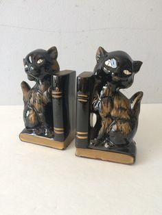 des années 1950 kitty serre-livres Redware céramique noir et or Japon Statue