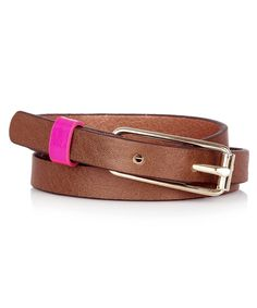I like this slim leather belt from Maison Boinet for jeans and over sweaters. Their wider versions are great with breeches.