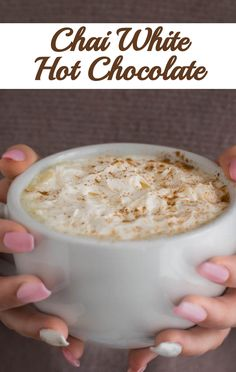 You only need three ingredients and a few few minutes to make this Chai White Hot Chocolate at home. A cozy drink without the premium price the coffee shops charge. Hot Chocolate Recipes, Gluten Free Chocolate, Hot Cocoa Bar, Baked Chips, White Chocolate Chips, Coffee Shops, Chai, Christmas Desserts, Christmas Ideas