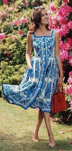 #summer #style #outfitideas |  Porcelain Print Midi Shirt Dress