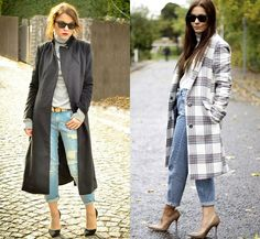 Fall Winter Oversize Coat with Boyfriend Denim