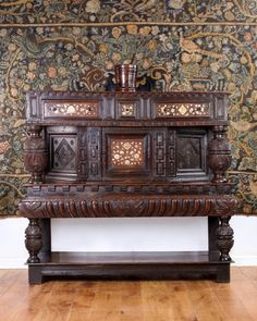 Elizabeth I inlaid livery cupboard, Marhamchurch antiques