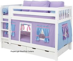A collection of 10 awesome girls' bunk beds. This Woodland Princess Castle from Posh Tots is a combination bunk bed and playhouse. The design maximizes space in your child's room. Loft Bed Curtains, Bunk Bed Tent, Bunk Bed Plans, Wood Bunk Beds, Modern Bunk Beds, Pink Curtains, Canopy Beds, Girls Bunk Beds, Twin Bunk Beds