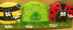 Painted Paver The Decorative Painting Store: Bugs & Turtle Landscape Border… Painted Bricks Crafts, Brick Crafts, Painted Pavers, Painted Rocks, Concrete Crafts, Stone Crafts, Landscape Bricks, Landscape Borders, Brick And Stone