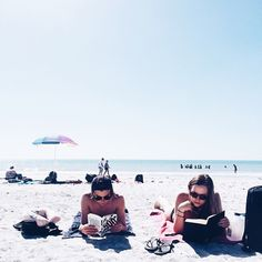 Reading book beach summer break bff friends picture