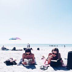 Reading book beach summer break bff friends picture