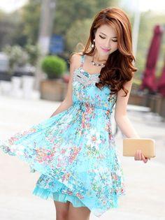 Blue Floral Dress                                                                                                                                                                                 Mais