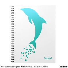 Blue Jumping Dolphin With Bubbles Notebook