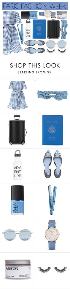 """""""Paris Fashion Week"""" by angelinapurplerose ❤ liked on Polyvore featuring Rimowa, Royce Leather, NARS Cosmetics, BaByliss, For Art's Sake, ROSEFIELD and Velour Lashes"""