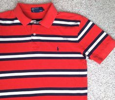 Mens(Med) RALPH LAUREN POLO T-SHIRT Reddish-Orange Striped Navy-Blue-Pony Pique #PoloRalphLauren #PoloRugby