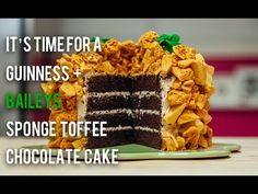 How to Cake...A St. Patrick's Day Cake with BAILEYS and GUINNESS! Stout and Irish cream come together to amp up the chocolate flavour in this moist chocolate cake. Crumbled sponge toffee nuggets dusted with gold powder are pressed into the outside. My favourite way to have a beer - in cake! #baking #dessert