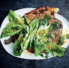RECIPES Butterflied Trout with Spicy Lettuce, Celery, and Herbs. If you have any doubts about your fish-cooking skills, put an end to them by using a nonstick skillet. Herb Recipes, Seafood Recipes, Dinner Recipes, Cooking Recipes, Trout Recipes, Shellfish Recipes, Lettuce Recipes, Avocado Recipes, Herb Salad