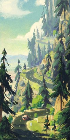The Mountain, an art print by Matt Rockefeller 'Round The Mountain - A gallery-quality illustration art print by Matt Rockefeller for sale.'Round The Mountain - A gallery-quality illustration art print by Matt Rockefeller for sale. Art And Illustration, Mountain Illustration, Art Environnemental, Environment Design, Environmental Art, Fine Art, Landscape Art, Landscape Edging, Landscape Lighting
