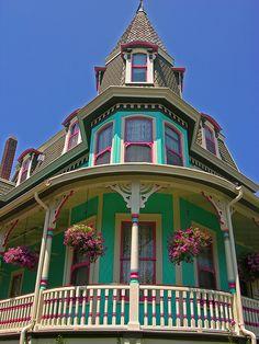 Cape May, New Jersey, Empire, Victorian. Victorian Style Homes, Victorian Cottage, Victorian Era, Victorian Decor, Victorian Architecture, Amazing Architecture, Beautiful Buildings, Beautiful Homes, Second Empire