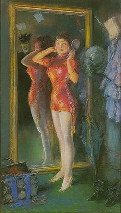 Actress in Red Before Mirror, 1910, by Everett Shinn (Ashcan School)