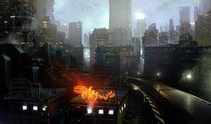 BONUS PIC - Alive For Art Inspiration   Artist interview w/pics! Rasmus Poulsen is an art director at Square Enix Montréal...Future Cyberpunk City Skyline With Neon Sign Concept