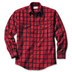The iconic wood buffalo red plaid flannel or wool shirt. Though Woolrich has the original, Filson makes a very good one. Men of the outdoors, this is our garb.