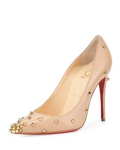 Degraspike Studded Leather Red Sole Pump, Nude/Gold by Christian Louboutin at Neiman Marcus.