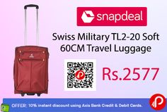 Snapdeal #DealofTheDay is offering Swiss Military TL2-20 Soft 60CM #Travel #Luggage Just at Rs.2577. Original merchandise, Light Weight, Twin Handle for carrying ease, Detachable pouch inside for storing toiletries & accessories Rubberized wheels with full noise reduction.   http://www.paisebachaoindia.com/swiss-military-tl2-20-soft-60cm-travel-luggage-just-at-rs-2577-snapdeal/