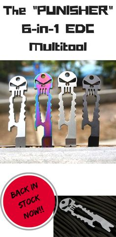 """One of the best Pocket EDC Tools. Handy, small and lightweight, this space-saving """"Punisher"""" 9-in-1 multi-tool is also super convenient to carry and you can lock it securely to any keychain. And it also looks so cool! Wouldn't you want this to hang from your keychain, too?! Check out the specs NOW!"""
