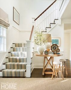 Four sailors' valentines decorate the nook by the stairway that leads to the family's bedrooms. Nantucket Style Homes, Nantucket Cottage, Coastal Cottage, Nantucket Beach, Nantucket Decor, Coastal Style, Coastal Homes, Coastal Living, Coastal Interior