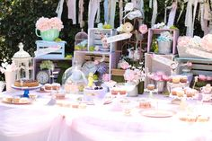 Dessert tablescape from a Shabby Chic Alice in Wonderland Baby Shower on Kara's Party Ideas | KarasPartyIdeas.com (7)