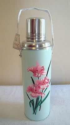 Seventh Sense Vintage-Style Thermos, Light Blue with Flowers, Cork Plug