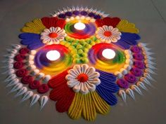 Small And Easy Diwali Special Rangoli Design Indian Rangoli Designs, Rangoli Designs Latest, Rangoli Designs Flower, Latest Rangoli, Colorful Rangoli Designs, Rangoli Ideas, Rangoli Designs Images, Flower Rangoli, Beautiful Rangoli Designs