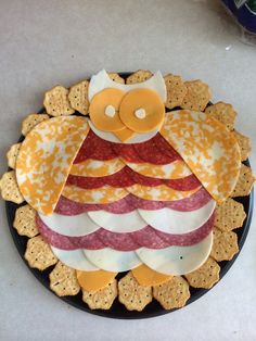 Owl cheese and meat tray
