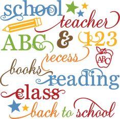 School Words Set SVG files for scrapbooking school svg cut files free svgs school svgs scal files