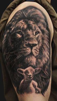 Realistic Lion And Lamb Tattoo